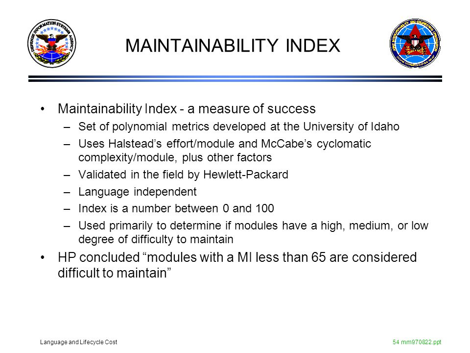 MAINTAINABILITY INDEX