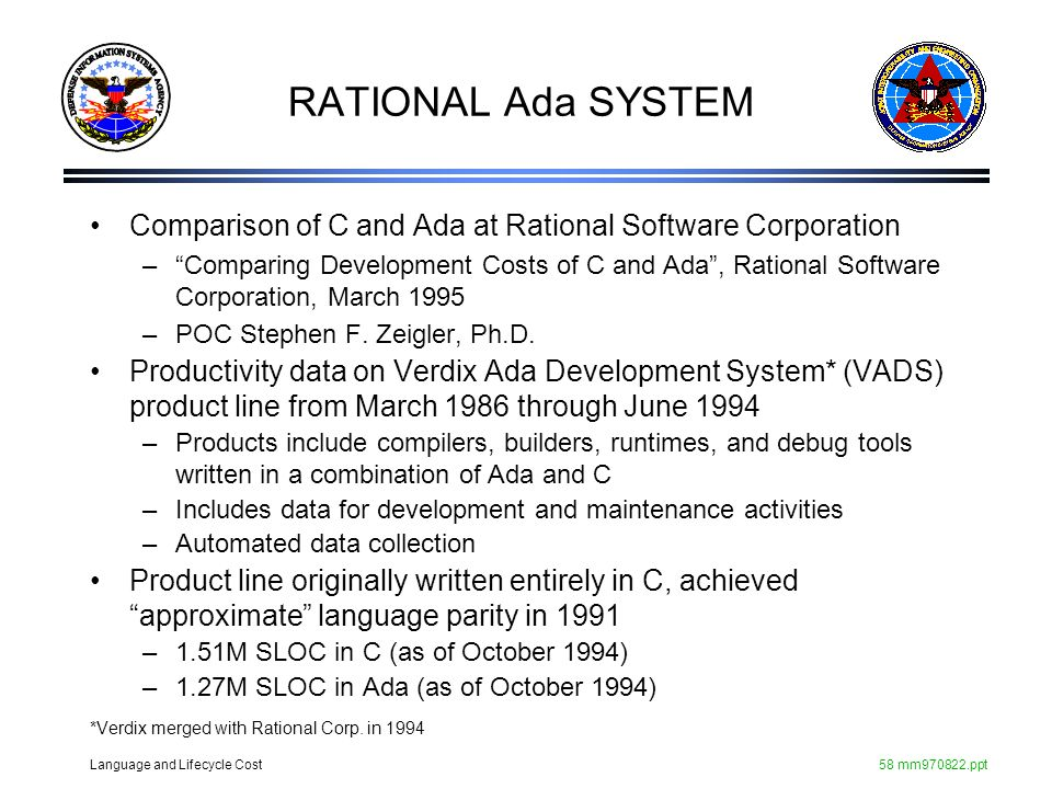 RATIONAL Ada SYSTEM Comparison of C and Ada at Rational Software Corporation.