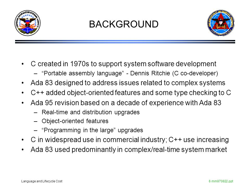 BACKGROUND C created in 1970s to support system software development