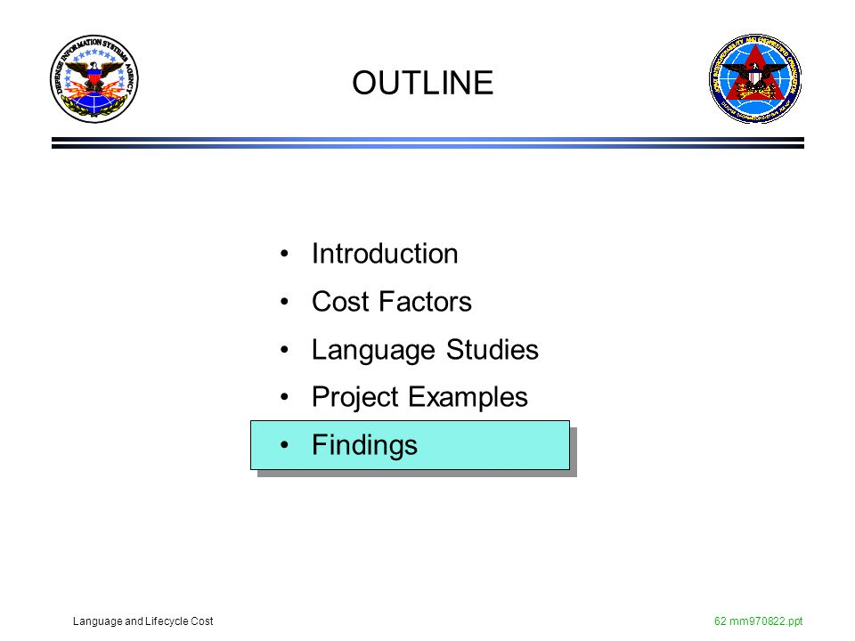 OUTLINE Introduction Cost Factors Language Studies Project Examples