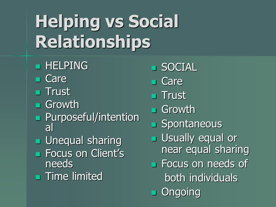 Helping vs Social Relationships