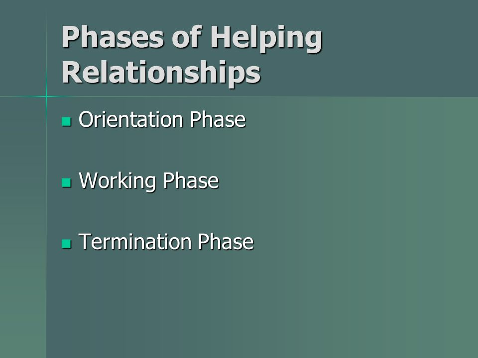 Phases of Helping Relationships