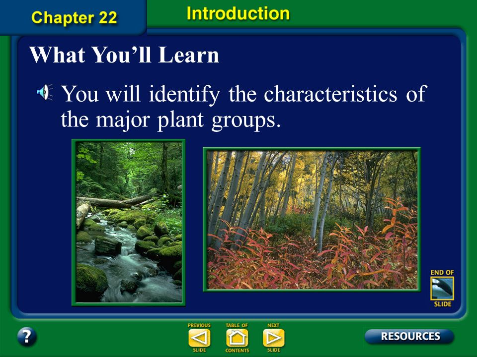 You will identify the characteristics of the major plant groups.