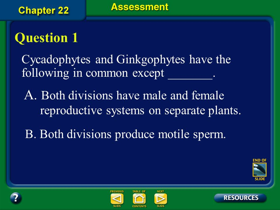 Question 1 Cycadophytes and Ginkgophytes have the following in common except _______.
