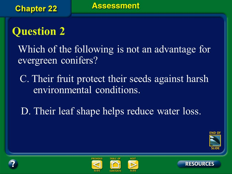 Question 2 Which of the following is not an advantage for evergreen conifers
