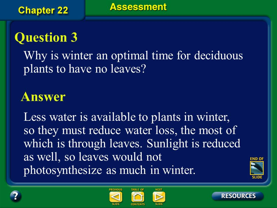 Question 3 Why is winter an optimal time for deciduous plants to have no leaves Answer.