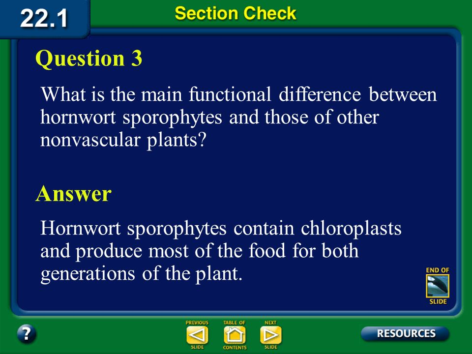 Question 3 What is the main functional difference between hornwort sporophytes and those of other nonvascular plants