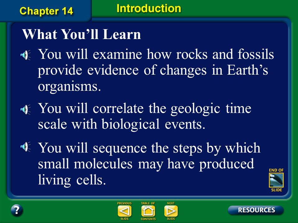 You will correlate the geologic time scale with biological events.