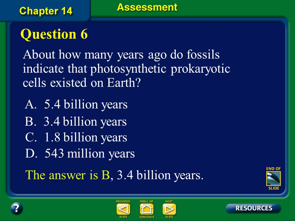 Question 6 About how many years ago do fossils indicate that photosynthetic prokaryotic cells existed on Earth