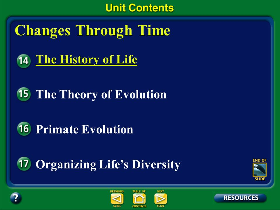 Changes Through Time The History of Life The Theory of Evolution