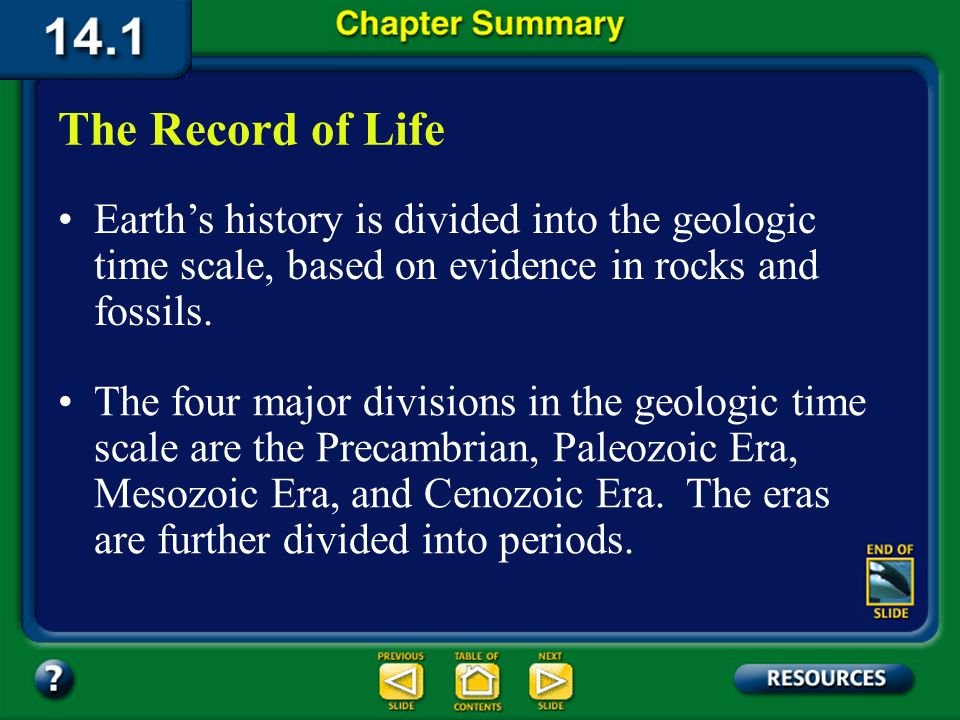 The Record of Life Earth's history is divided into the geologic time scale, based on evidence in rocks and fossils.
