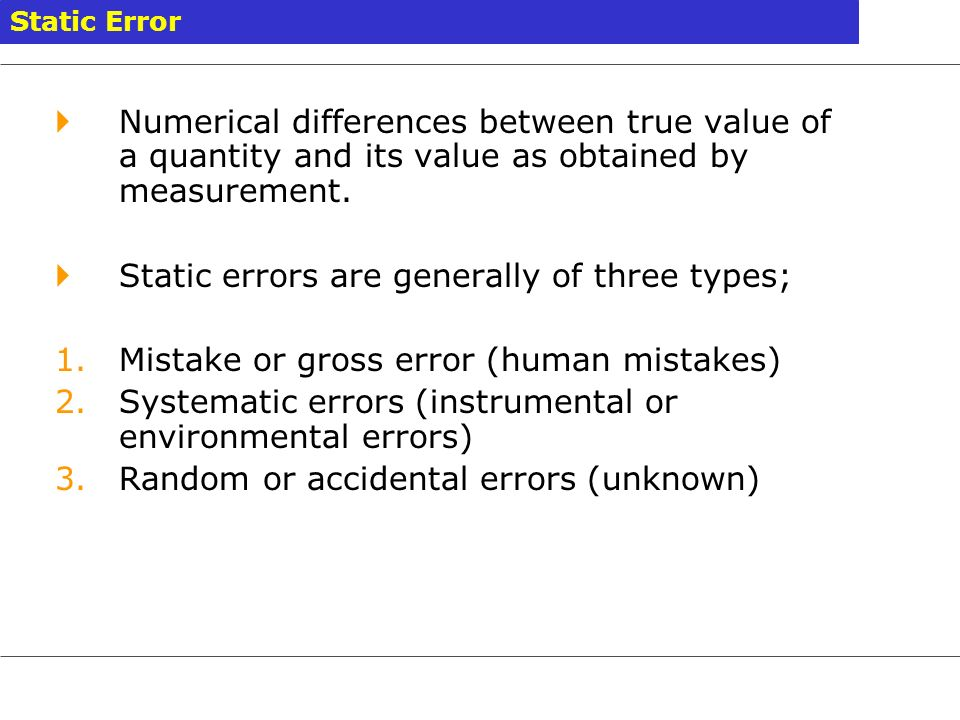 Static errors are generally of three types;