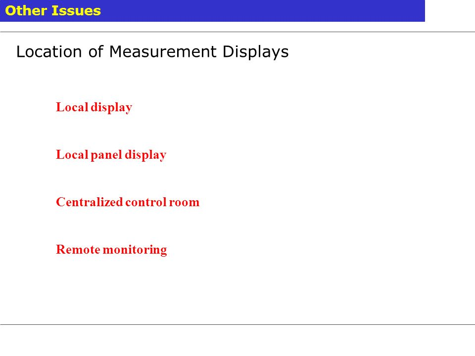Location of Measurement Displays
