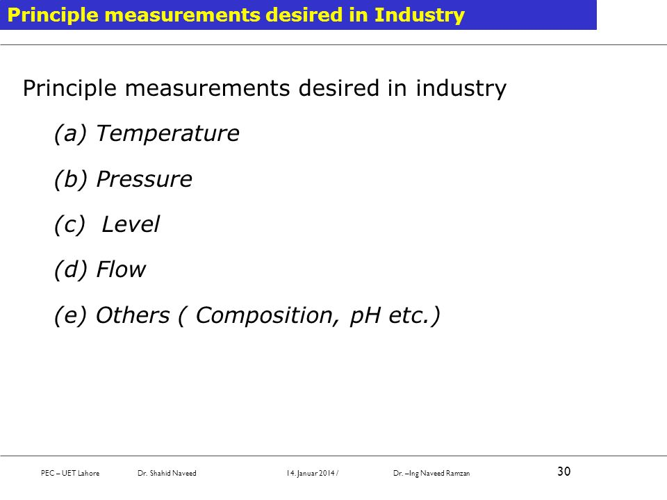 Principle measurements desired in industry (a) Temperature