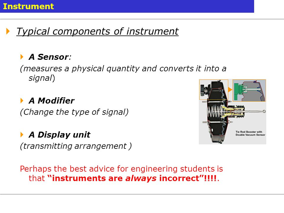 Typical components of instrument