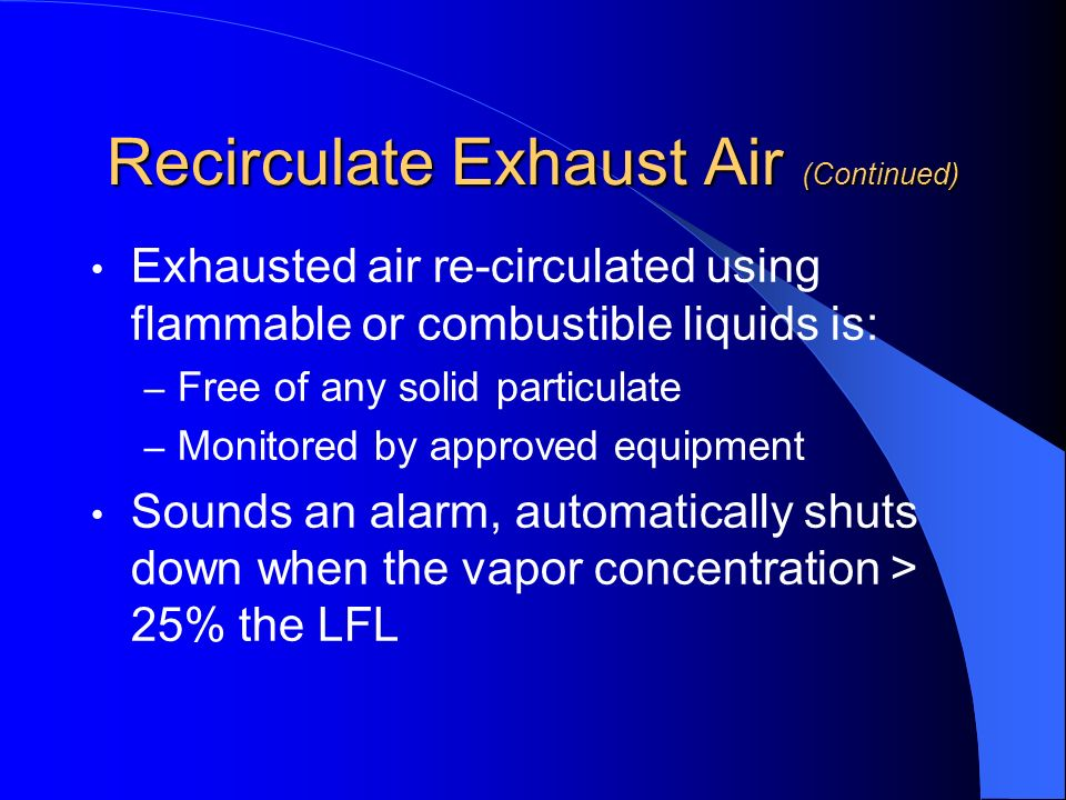 Recirculate Exhaust Air (Continued)