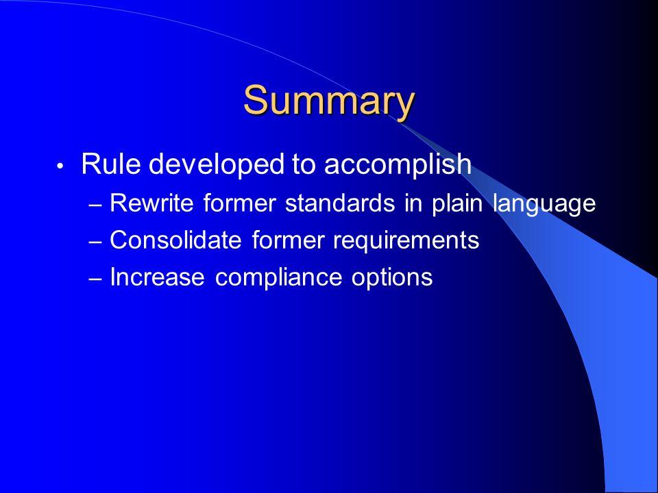 Summary Rule developed to accomplish