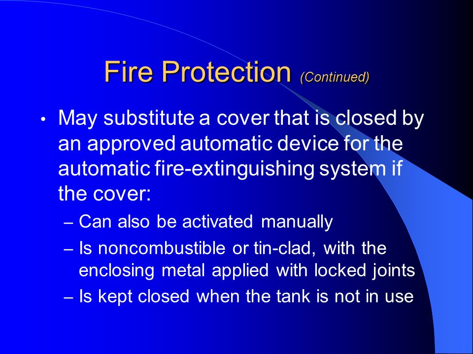 Fire Protection (Continued)