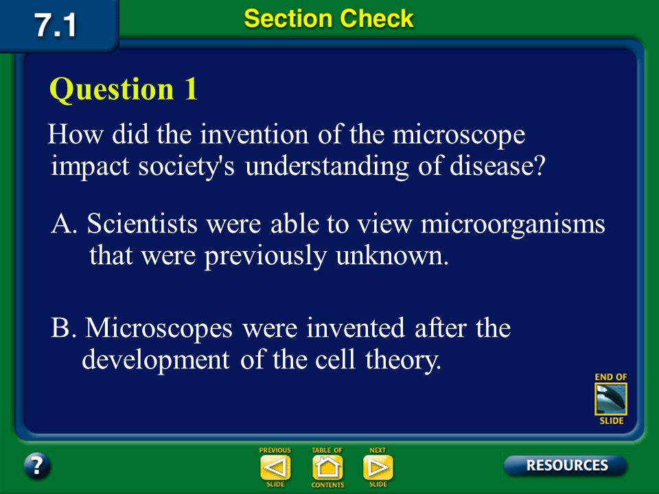 Question 1 How did the invention of the microscope impact society s understanding of disease