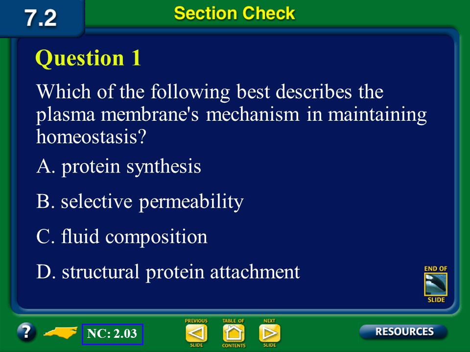 Question 1 Which of the following best describes the plasma membrane s mechanism in maintaining homeostasis
