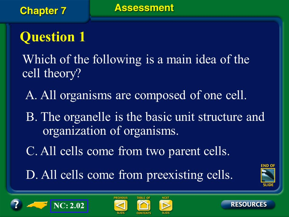 Question 1 Which of the following is a main idea of the cell theory