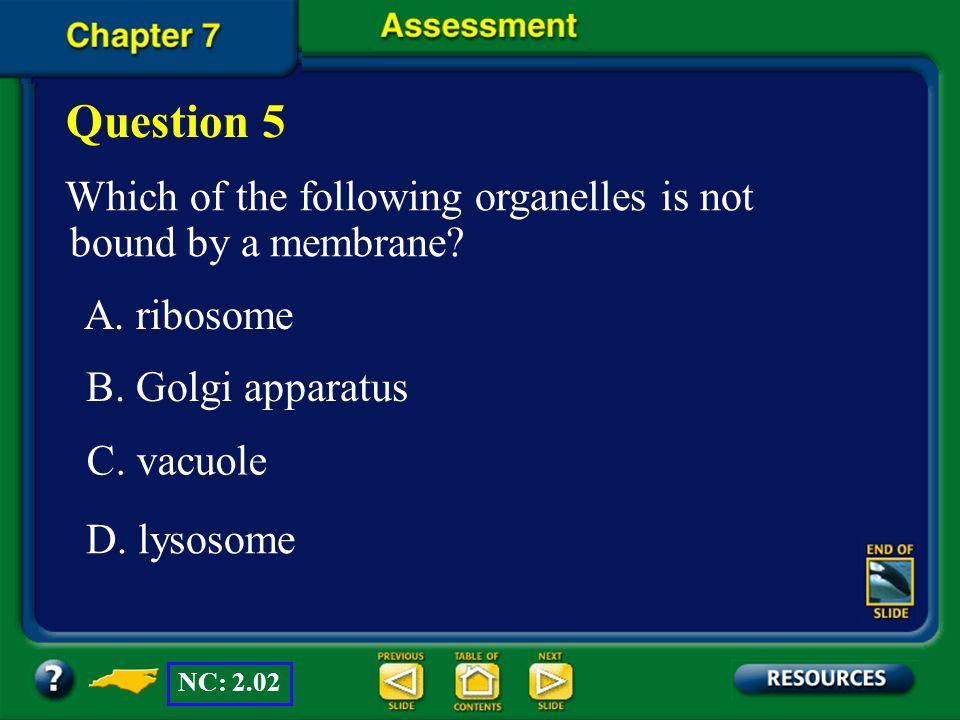 Question 5 Which of the following organelles is not bound by a membrane A. ribosome. B. Golgi apparatus.