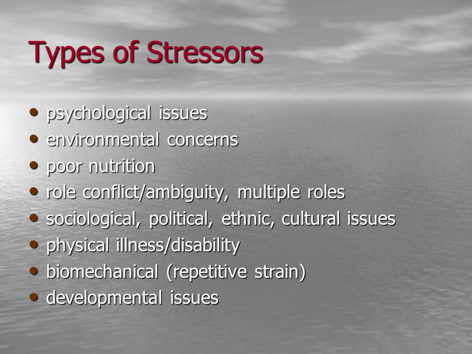 Types of Stressors psychological issues environmental concerns