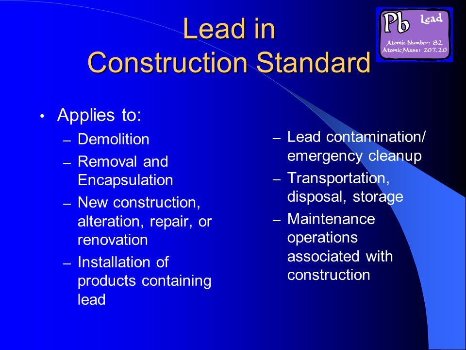 Lead in Construction Standard
