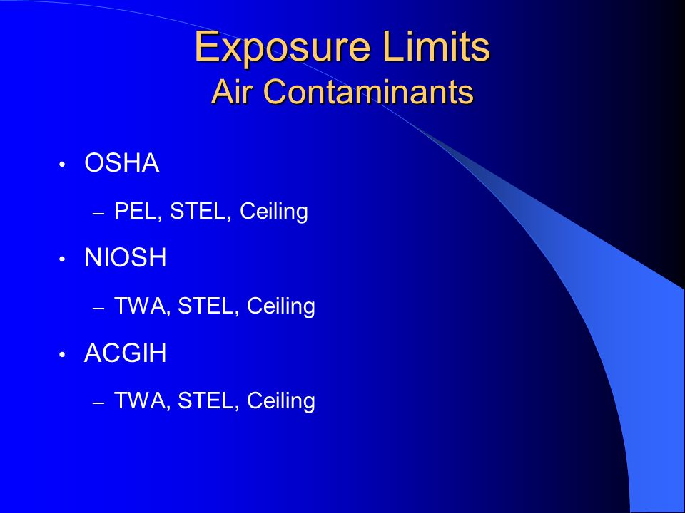 Exposure Limits Air Contaminants
