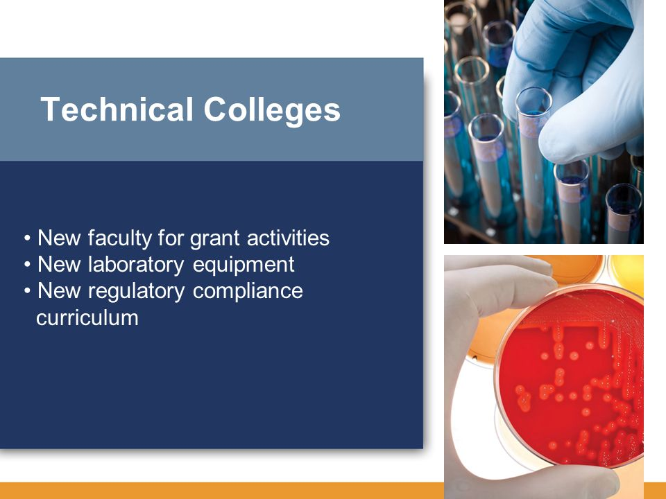 Technical Colleges • New faculty for grant activities