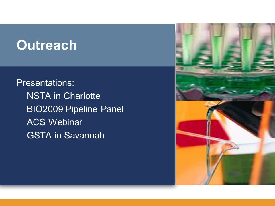 Outreach Presentations: NSTA in Charlotte BIO2009 Pipeline Panel ACS Webinar GSTA in Savannah