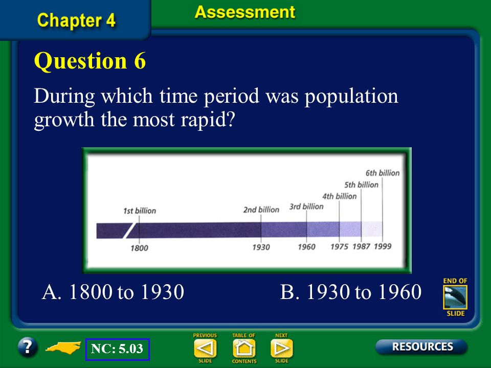 Question 6 During which time period was population growth the most rapid A. 1800 to 1930. B. 1930 to 1960.