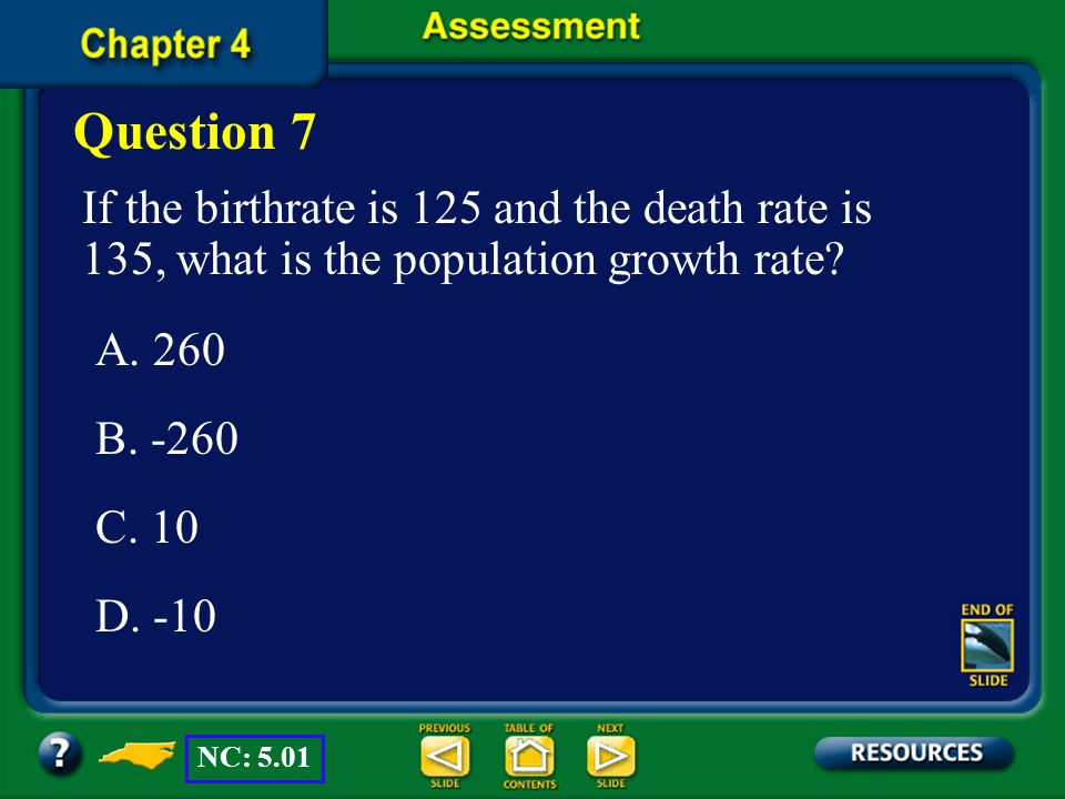 Question 7 If the birthrate is 125 and the death rate is 135, what is the population growth rate A. 260.
