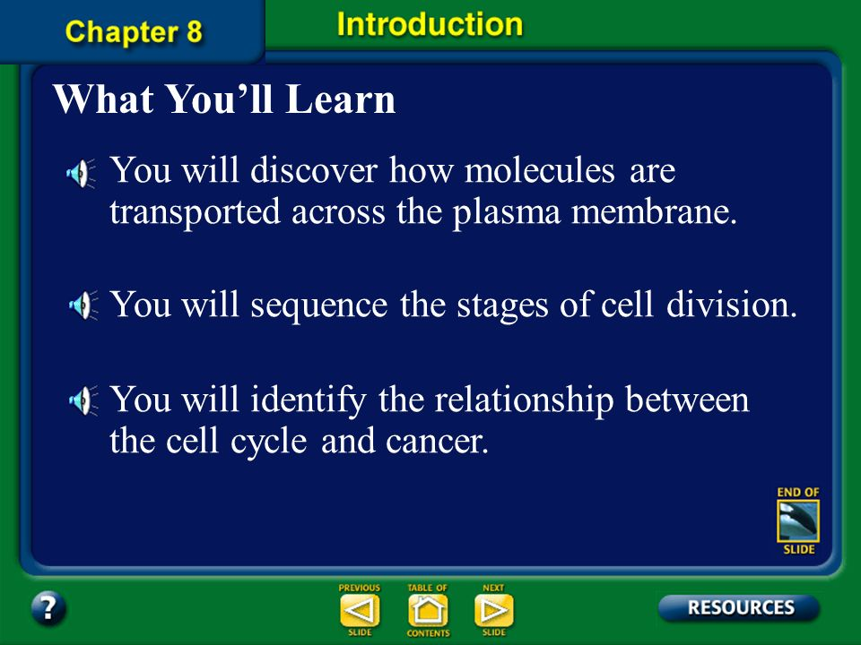 What You'll Learn You will discover how molecules are transported across the plasma membrane. You will sequence the stages of cell division.