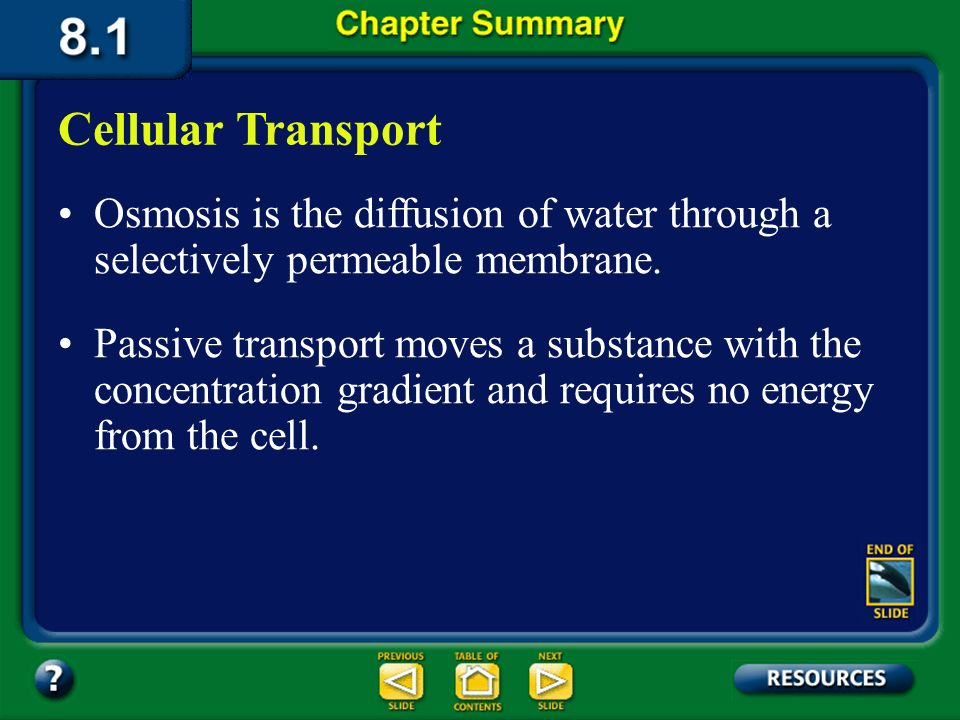 Cellular Transport Osmosis is the diffusion of water through a selectively permeable membrane.