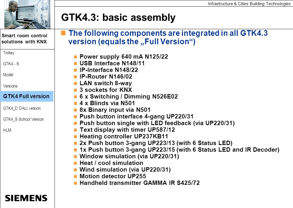 """GTK4.3: basic assemblyThe following components are integrated in all GTK4.3 version (equals the """"Full Version )"""