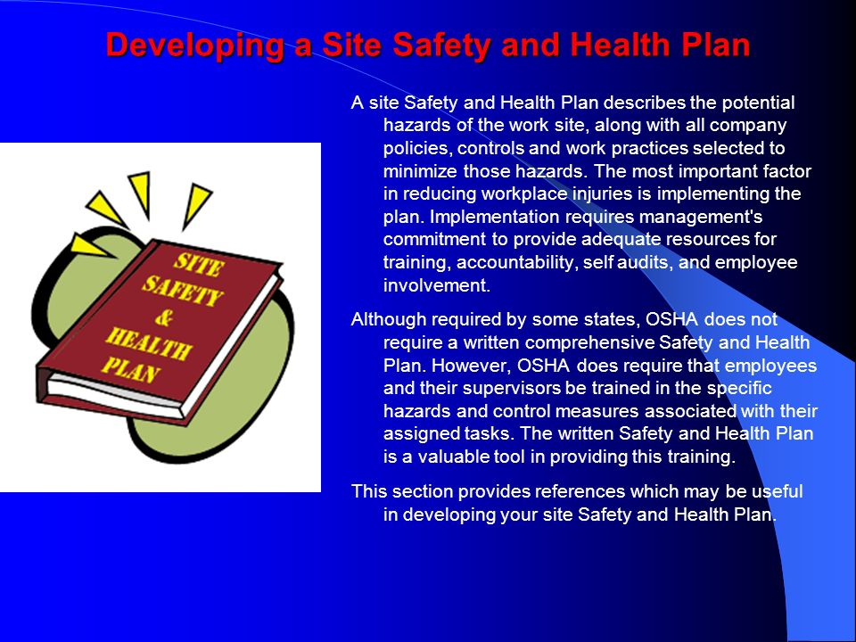 Developing a Site Safety and Health Plan