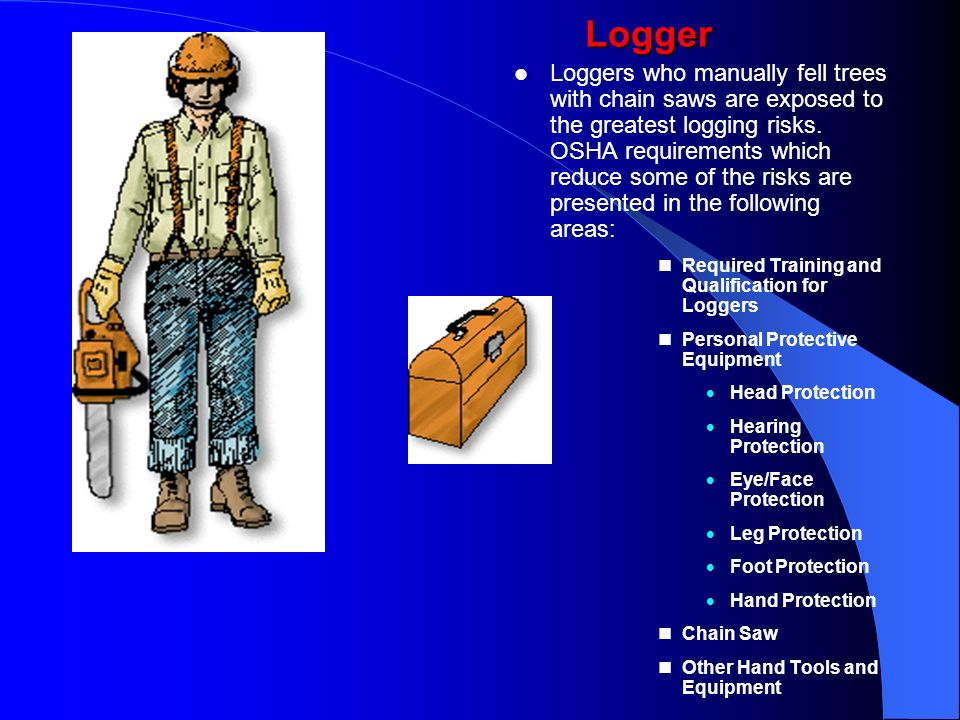 Loggers who manually fell trees with chain saws are exposed to the greatest logging risks. OSHA requirements which reduce some of the risks are presented in the following areas: