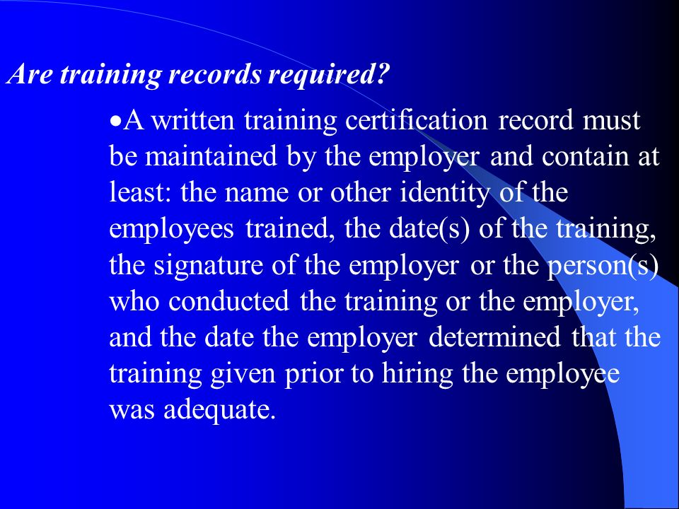 Are training records required