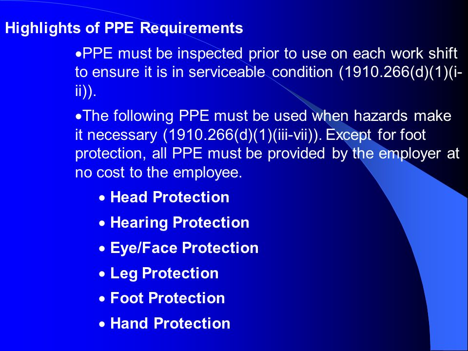 Highlights of PPE Requirements