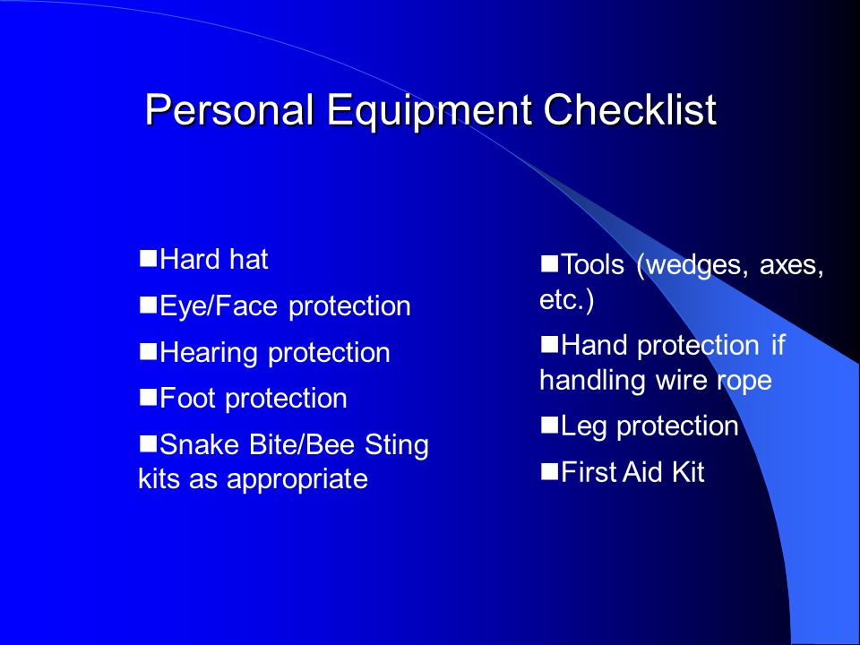 Personal Equipment Checklist