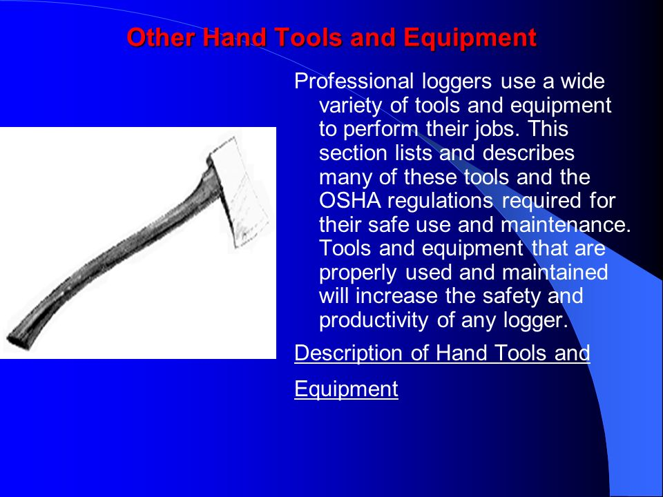 Other Hand Tools and Equipment