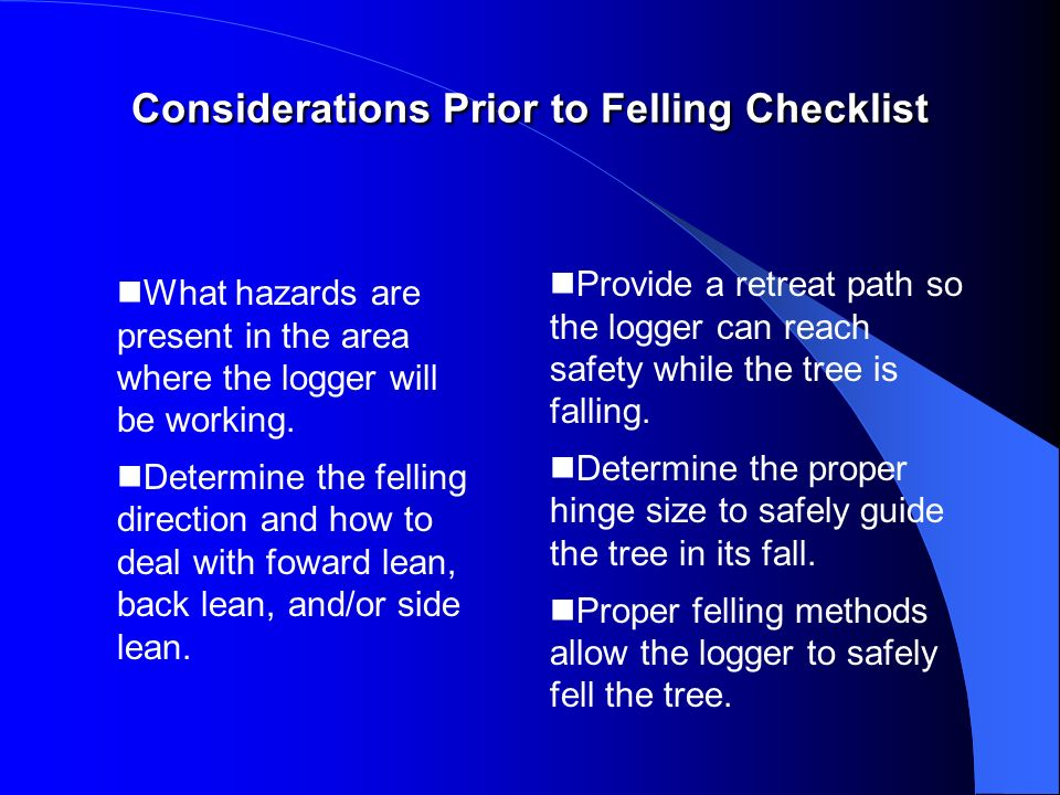 Considerations Prior to Felling Checklist