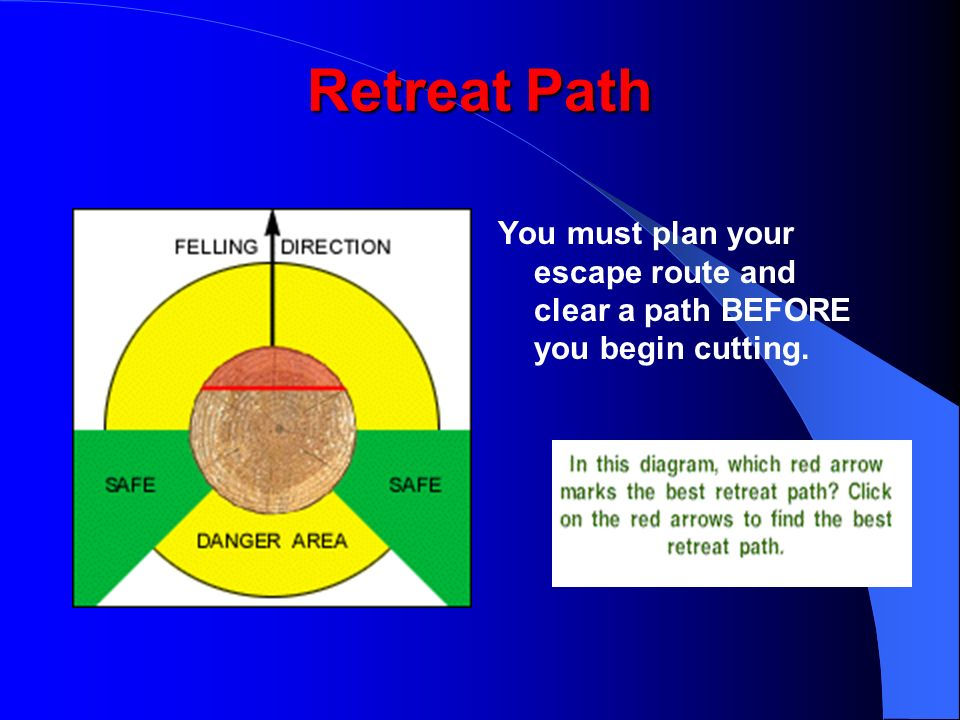 Retreat Path You must plan your escape route and clear a path BEFORE you begin cutting.