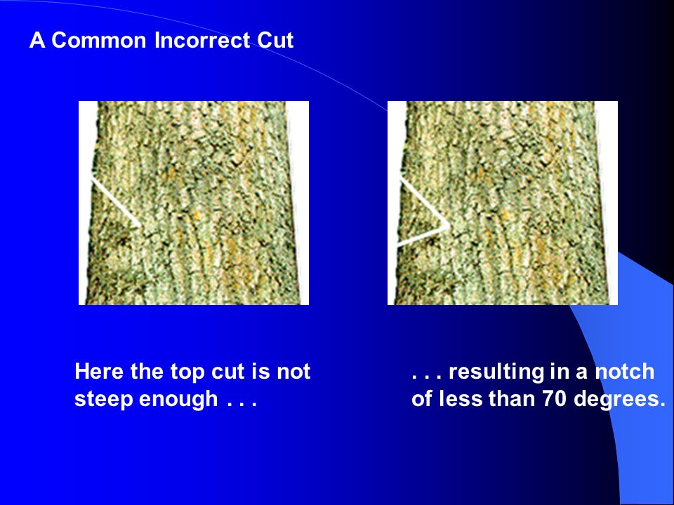 A Common Incorrect Cut Here the top cut is not steep enough .