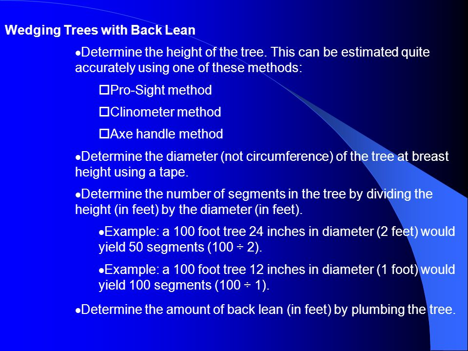 Wedging Trees with Back Lean