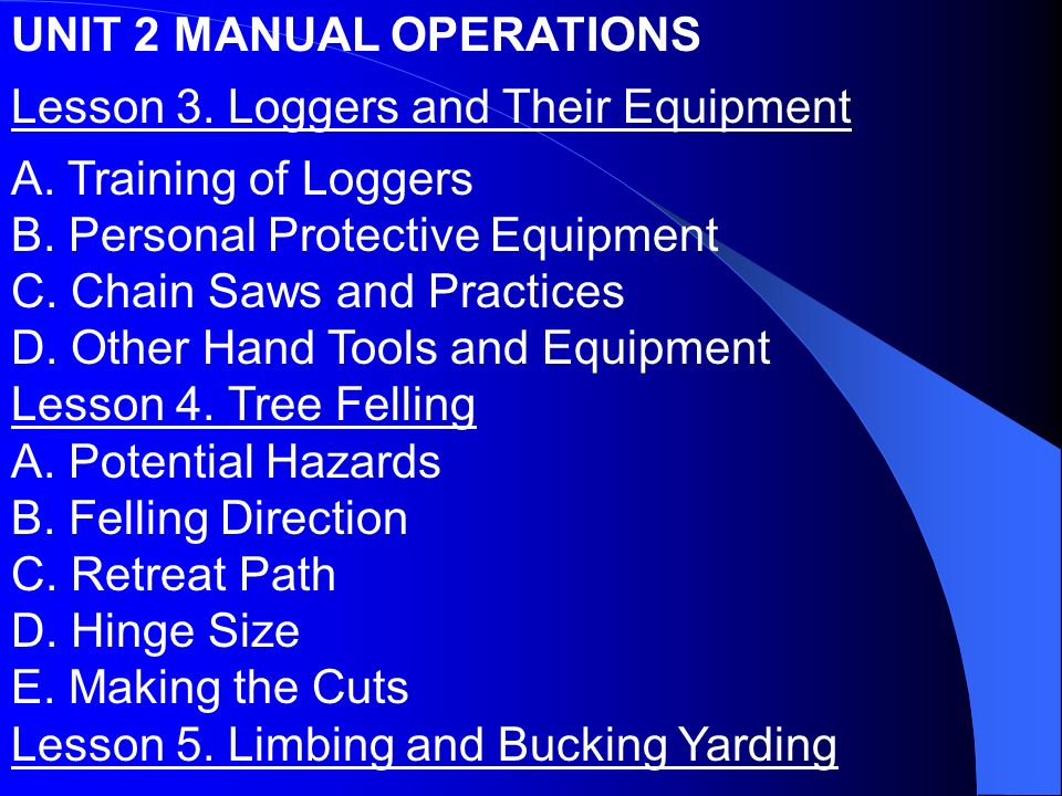 UNIT 2 MANUAL OPERATIONS