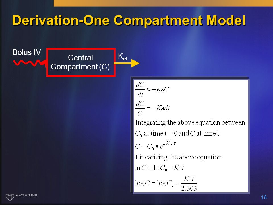 Derivation-One Compartment Model
