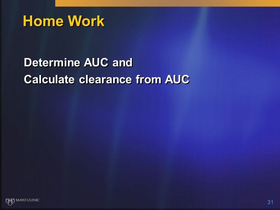 Home Work Determine AUC and Calculate clearance from AUC