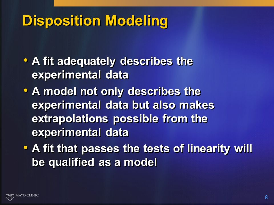 Disposition Modeling A fit adequately describes the experimental data